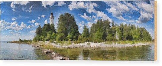 Door County Cana Island Lighthouse Panorama Wood Print