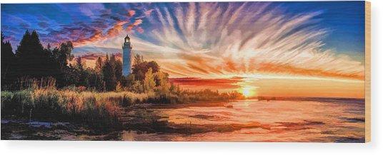 Door County Cana Island Lighthouse Sunrise Panorama Wood Print