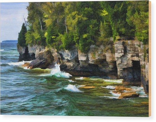Door County Cave Point Cliffs Wood Print