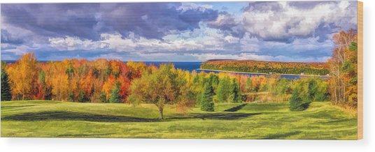 Door County Grand View Scenic Overlook Panorama Wood Print