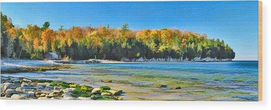Door County Wisconsin Bay Panorama Wood Print