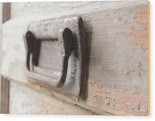 Door Handle Wood Print by Wayne Thompson