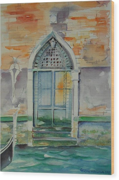 Door In Venice-italy Wood Print