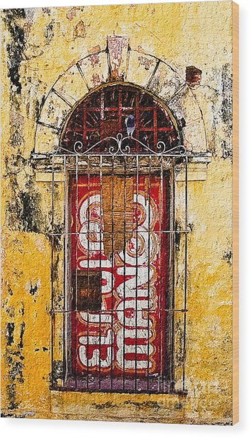 Door Series - Yellow Wood Print