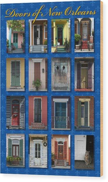 Doors Of New Orleans Wood Print