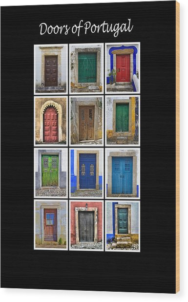Doors Of Portugal Wood Print