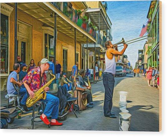Doreen's Jazz New Orleans - Paint Wood Print