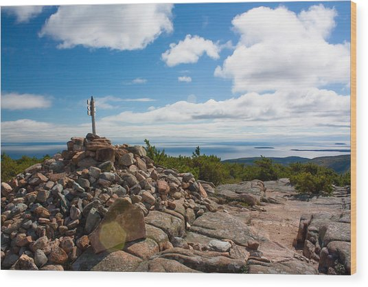 Dorr Mountain Summit - Acadia Wood Print