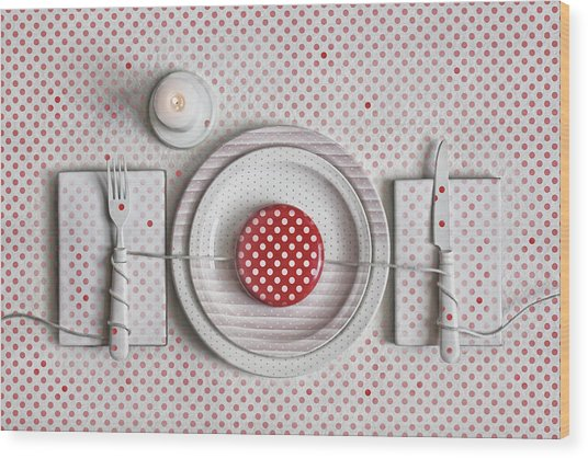 Dotted Dinner Wood Print by Dimitar Lazarov -