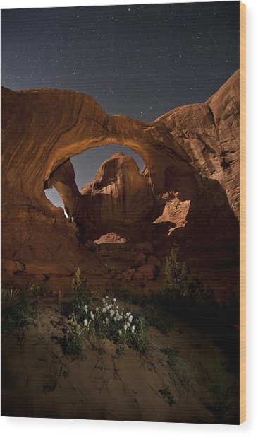 Double Arch In The Moonlight Wood Print