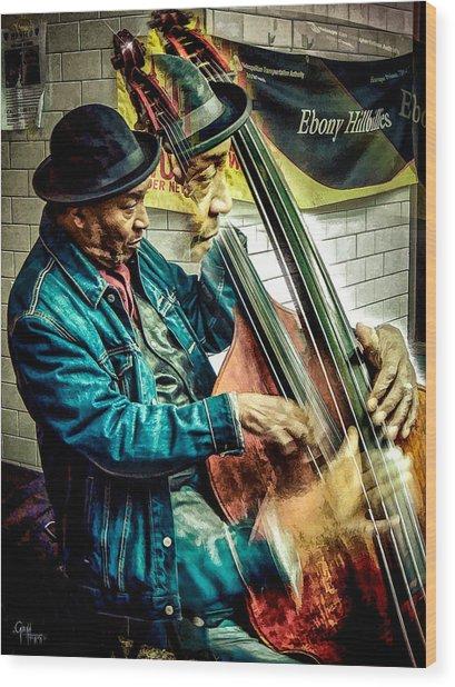Double Bass. Man Wood Print