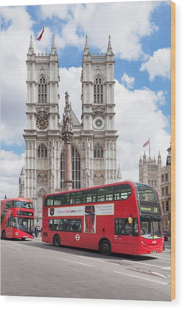 Double-decker Buses Passing Wood Print