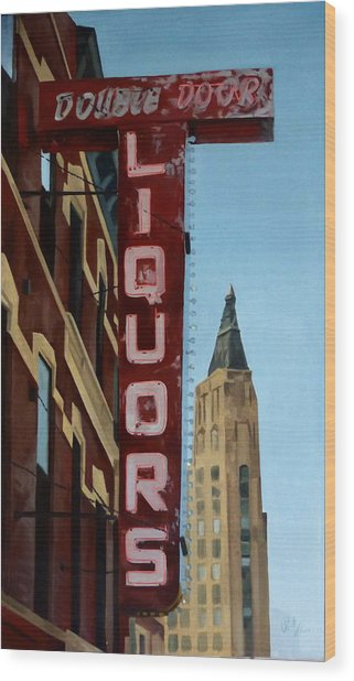Double Door Sign Wicker Park Bucktown Chicago Wood Print
