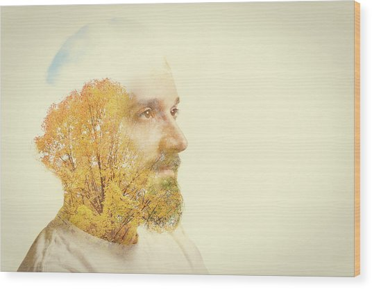 Double Exposure Man With Beard And Fall Wood Print by Sdominick