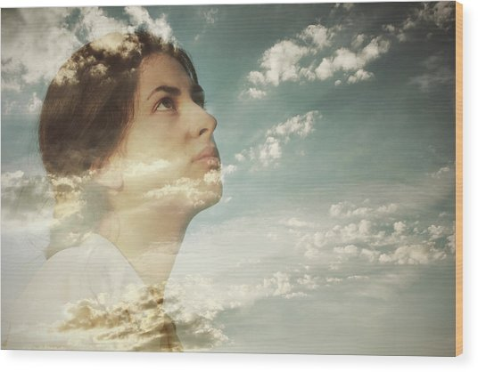 Double Exposure Of A Young Woman And Wood Print by Owl Stories