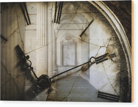 Double Exposure Of Antique Pocket Watch And Old Architecture Wood Print by Ilbusca