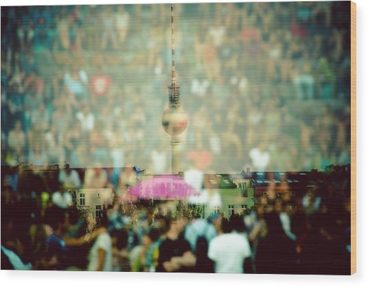 Double Exposure Of Crowd And Communications Tower Wood Print by Thorsten Gast / EyeEm