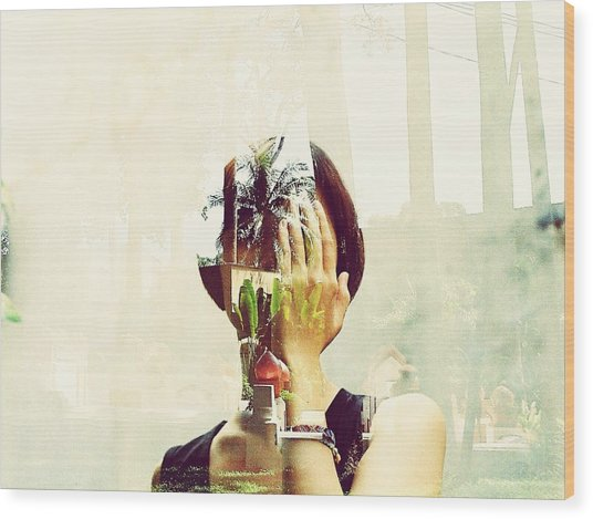 Double Exposure Of Woman And Trees With Reflection Wood Print by Quan Tran Minh / EyeEm