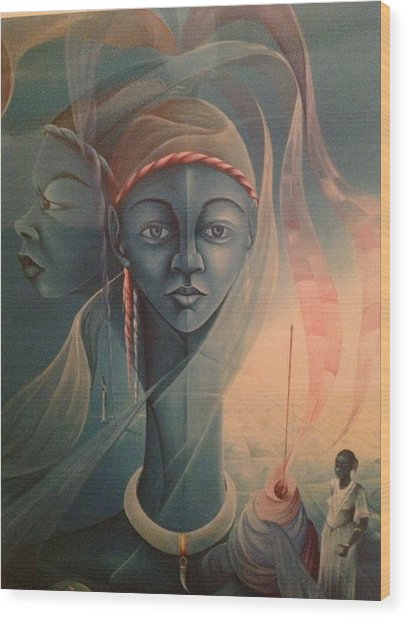 Double Face Of A Voodoo Woman Wood Print