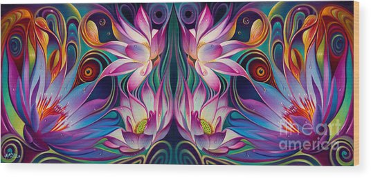 Double Floral Fantasy 2 Wood Print