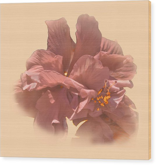 Double Hibiscus Portrait Wood Print