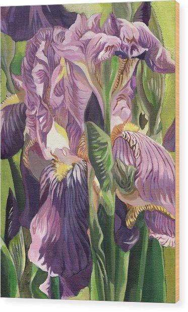 Double Purple Irises -painting Wood Print