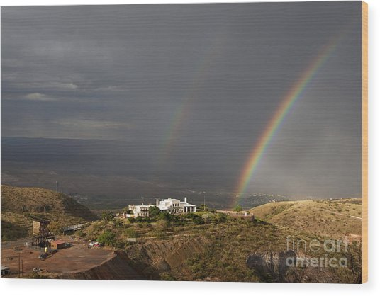 Double Rainbow And Jerome State Park Wood Print
