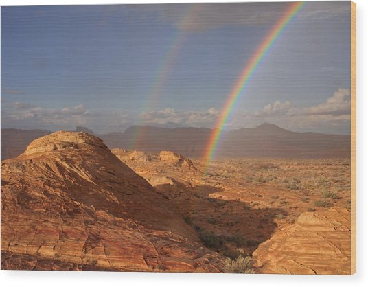 Double Rainbow At The Valley Of Fire Wood Print