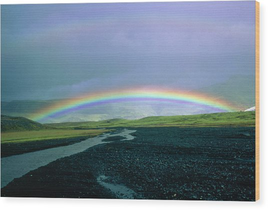 Double Rainbow Over Iceland Wood Print by Simon Fraser/science Photo Library