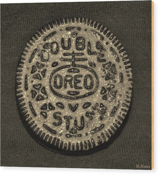 Double Stuff Oreo In Sepia Negitive Wood Print