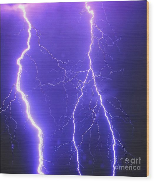 Double Triple Blue Lightning Wood Print