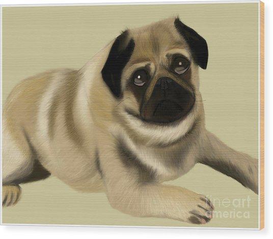 Doug The Pug Wood Print