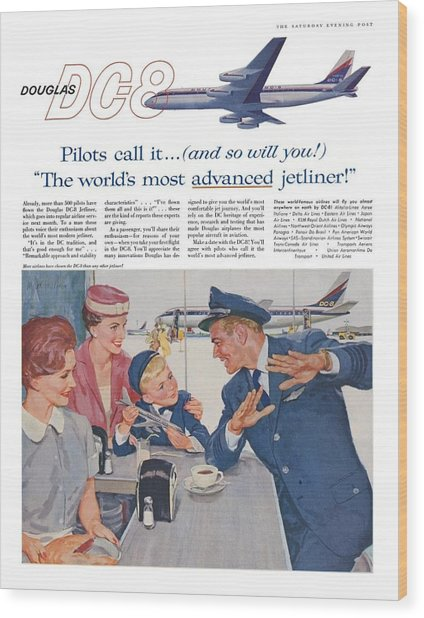 Douglas Dc8 Saturday Evening Post Advertisement Wood Print