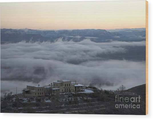 Douglas Mansion Above The Clouds Hovering Over The Verde Valley From Jerome Arizona Wood Print