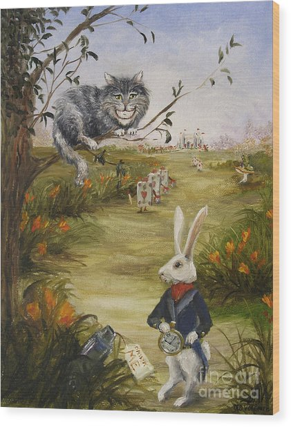 Down A Rabbit Hole Wood Print by Stella Violano