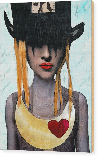 Down The Rabbit Hole - Close Up Mixed Media Art Wood Print