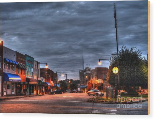 Down Town Granite Falls At Six Thirty In The Morning Wood Print
