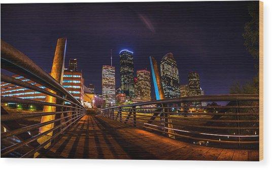 Down Town Houston From The Buffalo Bayou Bridge Wood Print