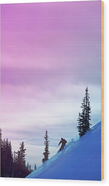 Downhill Skier At Alta Ski Resort Wood Print