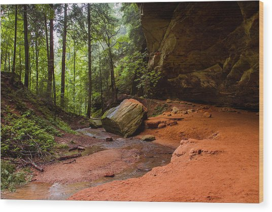 Downstream At Ash Cave Wood Print