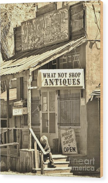 Downtown Cerrillos Wood Print