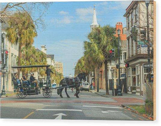 Downtown Charleston Stroll Wood Print