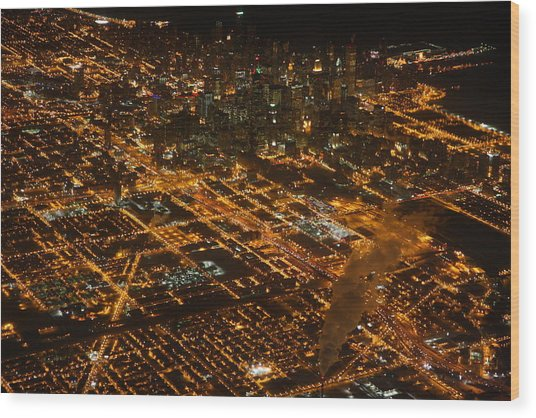 Downtown Chicago At Night Wood Print