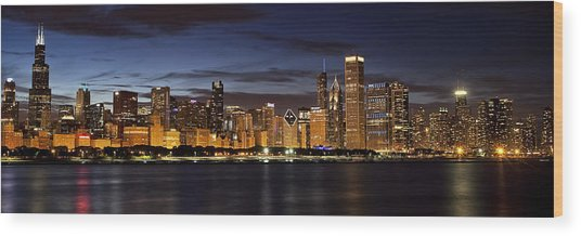Downtown Chicago Panorama Wood Print