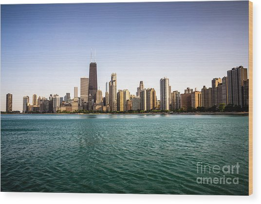Downtown City Buildings Skyline In Chicago Wood Print