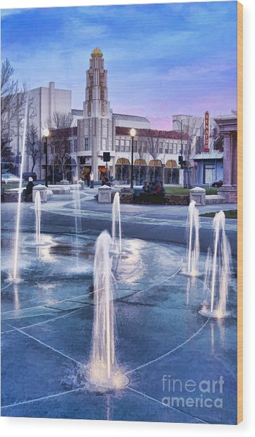 Downtown City Plaza Chico California Wood Print