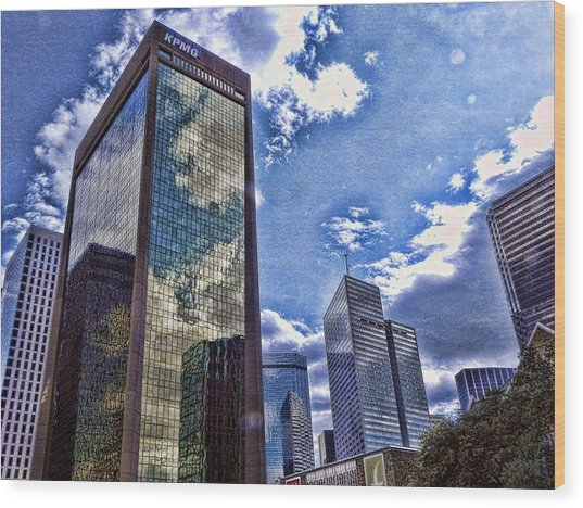 Downtown Dallas Wood Print