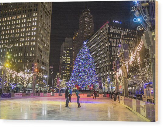 Downtown Detroit Ice Rink  Wood Print