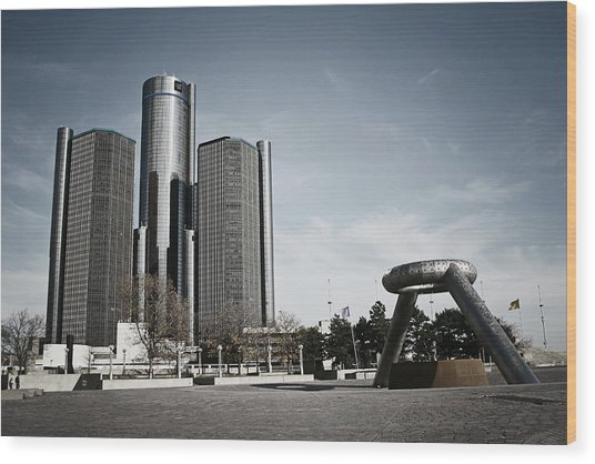 Downtown Detroit Wood Print