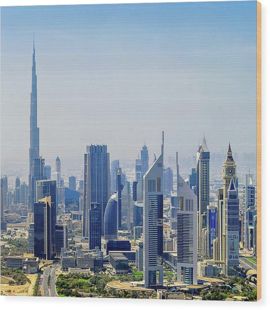 Downtown Dubai Wood Print by Joseph Plotz